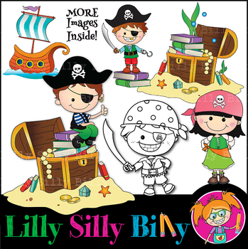 Clipart Pirates Learning Adventure BLACK AND WHITE & Color Deluxe Set