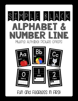 {Simple Black} Alphabet & Number Line Posters