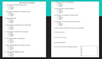 { Simple, Compound, Complex } Sentences Worksheet