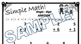 """""""Simple Math"""" - Single Digit Addition worksheet (2 Pages)"""