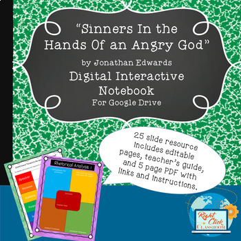 """""""Sinners In the Hands Of an Angry God"""" Digital Interactive Notebook"""