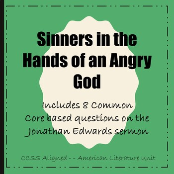 """Sinners in the Hands of an Angry God"" Sermon Worksheet"