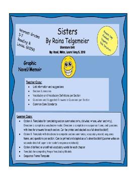 """Sisters"" by Raina Telgemeier Literature Unit"