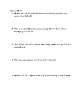 """Skellig"" Comprehension Questions"
