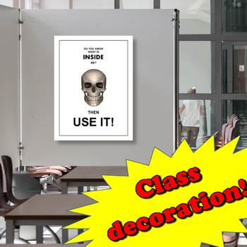 """""""Skull – use your brain"""" Science Poster Printable"""