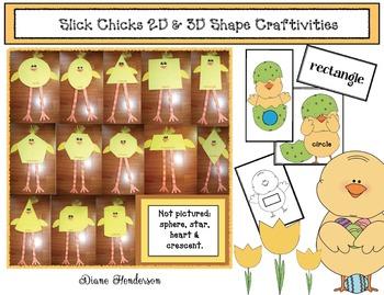 """""""Slick Chick"""" 2d & 3D Shape Craftivities, Games & Emergent Reader"""