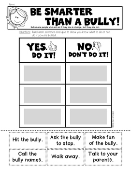 {Smarter than a Bully} Sort for Kindergarten and First Grade Social Studies