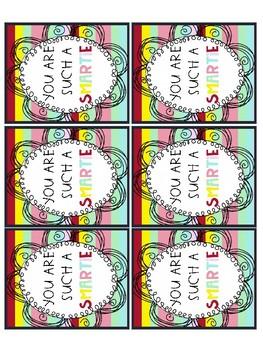 """Smartie"" Testing Encouragement Cards"