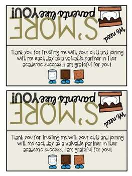 """""""Smore"""" parents like you! Parent Gift Tag - Bag topper"""