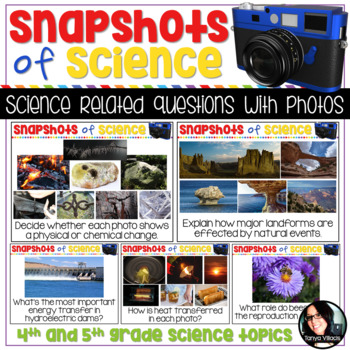 Science Questions and Prompts with Photos BELL RINGERS Grades 4-5