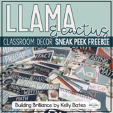 {Sneak Peek Freebie!} Llama and Cactus Classroom Decor Set