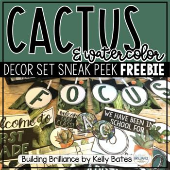 {Sneak Peek Freebie!} Watercolor Cactus Classroom Decor Set