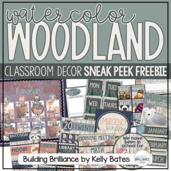 {Sneak Peek Freebie!} Watercolor Woodland Animals Classroom Decor Set