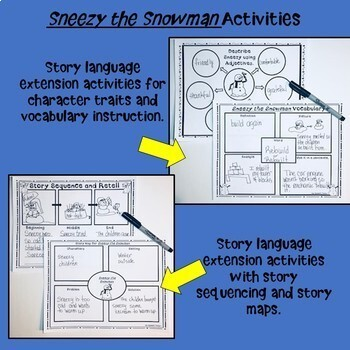 """""""Sneezy the Snowman"""" Book Companion for Speech Therapy"""
