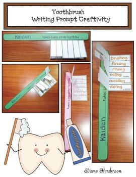 """Snip & Flip"" Writing Prompt Toothbrush Craftivity"