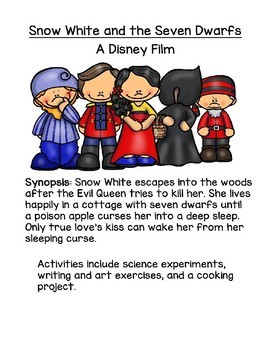 """Snow White and the Seven Dwarfs"" Movie Activities - Writing, Science, & Art"