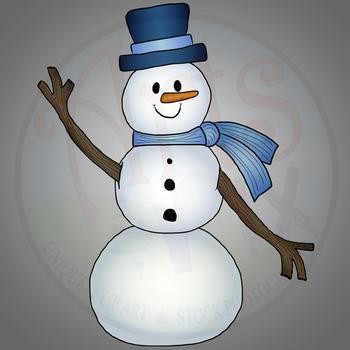 """""""Snowman TALL"""" Clipart - Winter Snowman - png"""