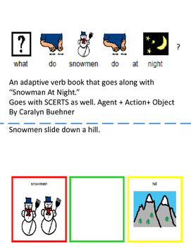 """Snowmen at Night"": Adaptive Action Verbs Book; SCERTS"