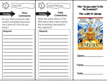 """""""So You Want To Be An Inventor"""" Comprehension Trifold (Storytown Lesson 16)"""