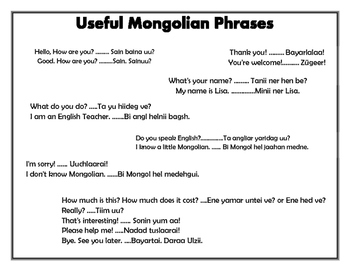 (Some useful Mongolian Phrases/Expressions)