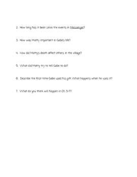 """""""Son"""" Lois Lowry Comprehension Questions (Book THREE)"""