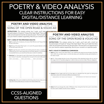 """Song of the Open Road"": Poem Analysis & TV Ad with Creative Copywriting"