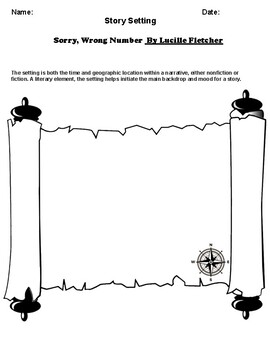 """""""Sorry, Wrong Number"""" By Lucille Fletche  Setting Worksheet"""