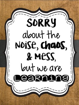 """""""Sorry about"""" burlap & chalkboard poster"""