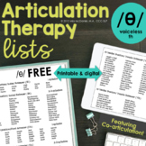 Articulation Therapy Sound Lists for Voiceless TH /θ/ Free