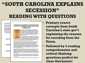 """South Carolina Explains Secession"" Reading with Questions - Civil War"