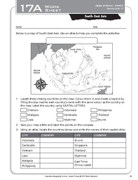 """South-East Asia"" Year 6 Card 17 Australian Geography Centre"