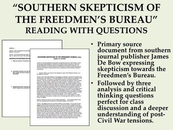 """Southern Skepticism of the Freedmen's Bureau"" Reading w/ Questions - USH/APUSH"
