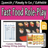 Spanish Restaurant Role-Play with 7 Activities on Google Slides
