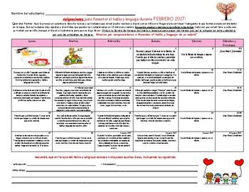 (Spanish) Speech Therapy Homework Calendar