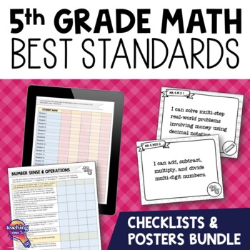 I Can Posters & Checklists Bundle 5th Grade Florida MAFS Standards