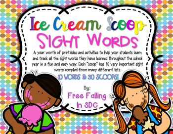 **Special Request** Ice Cream Scoop Sight Words (10 words & 30 scoop)