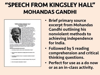 """Speech from Kingsley Hall"" - Mohandas Gandhi - Global/World History"