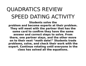 """Speed Dating"" Quadratics Review"