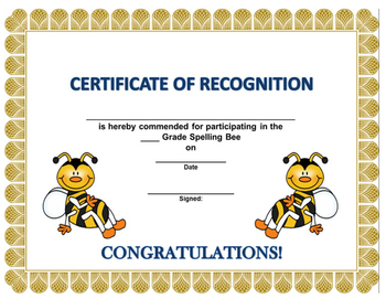 (Spelling Bee Certificates) by LittleTootsies Archive | TpT
