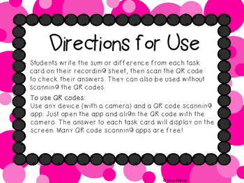 """""""Spider Love"""" 3 Digit Addition and Subtraction Task Cards with QR Codes"""