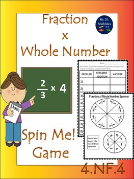 """Spin Me!"" Fraction x Whole Number 4.NF.4"