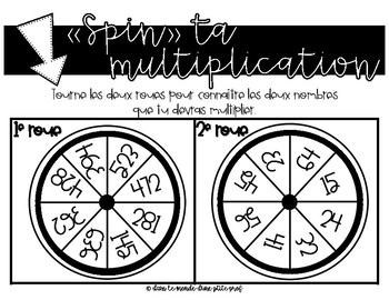 """""""Spin"""" ta multiplication (3 chiffres x 2 chiffres)"""