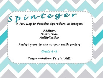 """""""Spin-teger!"""": Math game to practice operations on integers (grades 6-8)"""