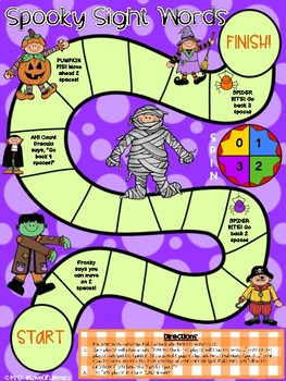 """Spooky Sight Words"" Board Game"