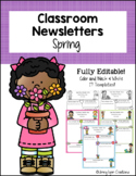 """Spring"" Classroom Newsletter Templates- Fully Editable"