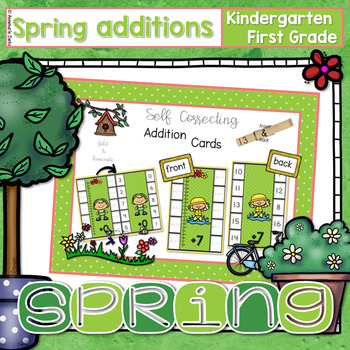 ~Spring Flipcard Math Additions~ Self Correcting