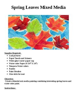 """""""Spring Leaves""""  Mixed Media Water Color"""