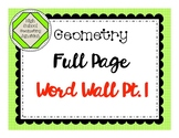 Geometry Full Page Word Wall Part 1