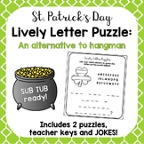 {St. Patrick's Day} Lively Letter Puzzle- An Alternative Hangman Game