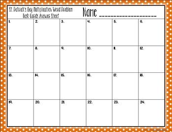 {St. Patrick's Day} Multiplication Word Problem Task Cards